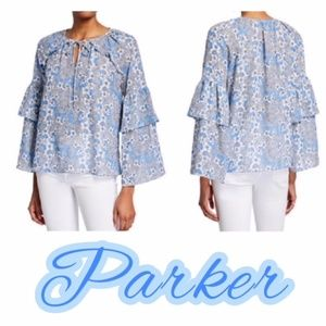 NWT PARKER TIERED SLEEVE FLORAL BLUE LYLA BLOUSE